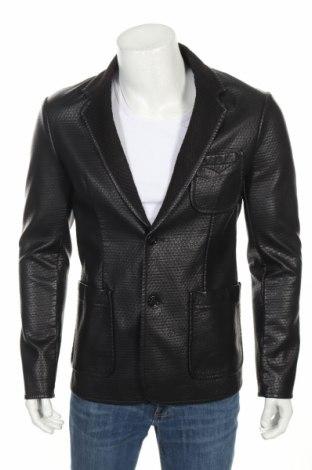 Мъжко кожено сако Gas, Размер M, Цвят Черен, Еко кожа, Цена 76,65лв.