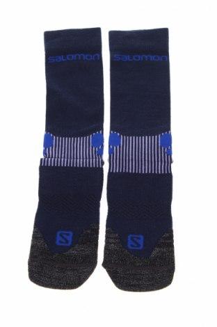 Спортни чорапи Salomon, Размер L, Цвят Син, 40% полиамид, 28% други тъкани, 24% полиестер, 6% коприна, 2% еластан, Цена 24,57лв.