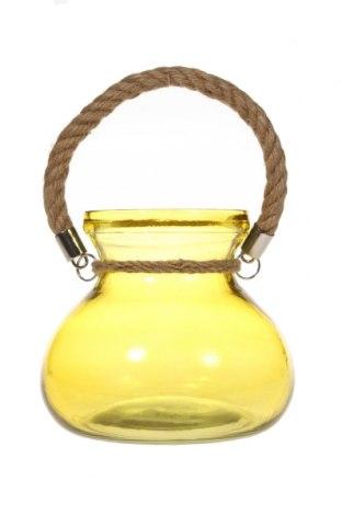 Свещник фенер, Цвят Жълт, Стъкло, Цена 27,38лв.