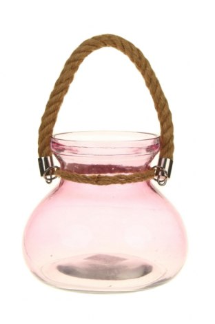 Свещник фенер, Цвят Розов, Стъкло, Цена 27,38лв.