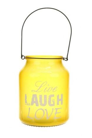 Свещник фенер, Цвят Жълт, Стъкло, Цена 28,86лв.