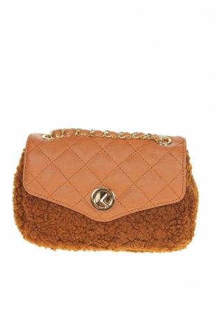 Дамска чанта Verde, Цвят Кафяв, Текстил, еко кожа, Цена 22,40лв.