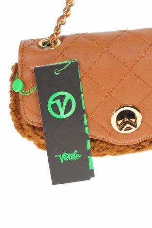 Дамска чанта Verde, Цвят Кафяв, Текстил, еко кожа, Цена 12,39лв.