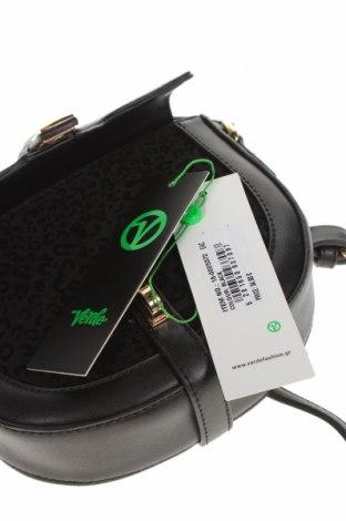 Дамска чанта Verde, Цвят Черен, Еко кожа, текстил, Цена 32,45лв.