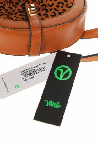 Дамска чанта Verde, Цвят Кафяв, Еко кожа, текстил, Цена 11,21лв.