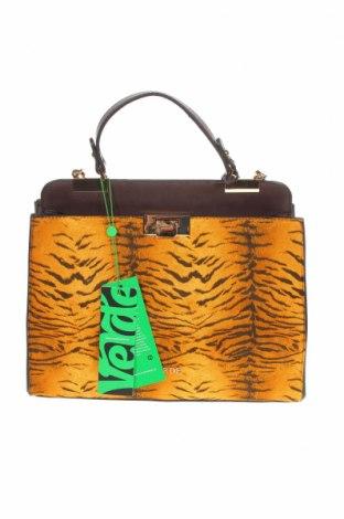 Дамска чанта Verde, Цвят Кафяв, Еко кожа, текстил, Цена 16,30лв.