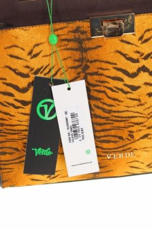 Дамска чанта Verde, Цвят Кафяв, Еко кожа, текстил, Цена 24,03лв.
