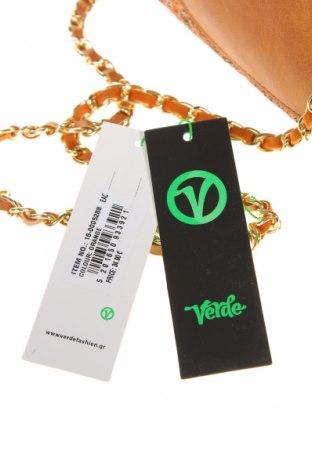 Дамска чанта Verde, Цвят Кафяв, Текстил, еко кожа, Цена 44,25лв.