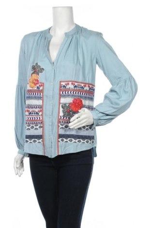 Γυναικείο πουκάμισο Desigual, Μέγεθος S, Χρώμα Μπλέ, 92% βισκόζη, 8% πολυεστέρας, Τιμή 23,27€