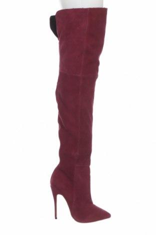 Дамски ботуши Casadei, Размер 38, Цвят Червен, Естествен велур, Цена 594,72лв.