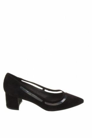 Дамски обувки Kiomi, Размер 36, Цвят Черен, Естествен велур, Цена 29,75лв.
