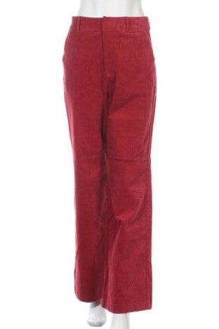 Дамски панталон Pull&Bear, Размер S, Цвят Червен, 99% памук, 1% еластан, Цена 29,54лв.