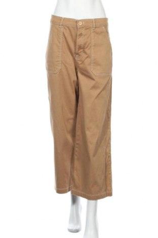 Дамски панталон Pull&Bear, Размер S, Цвят Бежов, 97% памук, 3% еластан, Цена 32,40лв.