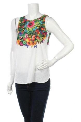 Γυναικείο αμάνικο μπλουζάκι Desigual, Μέγεθος S, Χρώμα Λευκό, Πολυεστέρας, Τιμή 26,68€