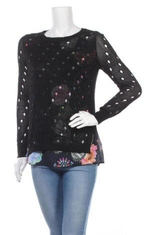 Дамски пуловер Desigual, Размер M, Цвят Черен, Вискоза, Цена 36,12лв.
