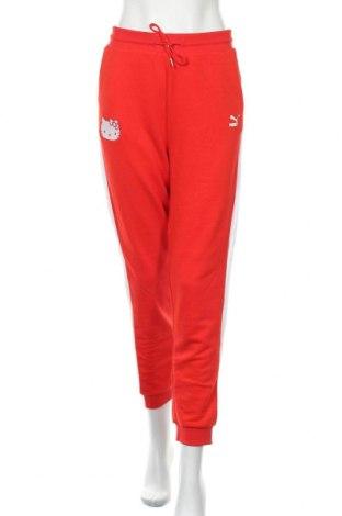 Дамско спортно долнище PUMA, Размер M, Цвят Червен, 68% памук, 32% полиестер, Цена 42,72лв.