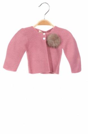 Детска жилетка Lola Palacios, Размер 9-12m/ 74-80 см, Цвят Розов, Акрил, естествен косъм, Цена 17,92лв.