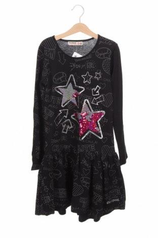 Детска рокля Desigual, Размер 10-11y/ 146-152 см, Цвят Черен, Памук, Цена 47,17лв.