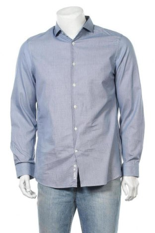 Ανδρικό πουκάμισο Faconnable, Μέγεθος M, Χρώμα Μπλέ, Βαμβάκι, Τιμή 16,39€