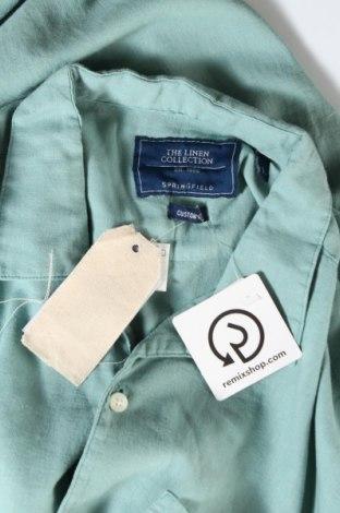 Мъжка риза Springfield, Размер L, Цвят Зелен, 50% лен, 50% вискоза, Цена 46,50лв.
