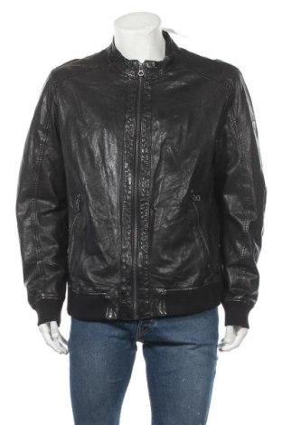 Мъжко кожено яке Gipsy, Размер XL, Цвят Черен, Естествена кожа, Цена 181,92лв.