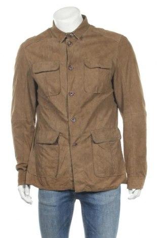 Мъжко кожено яке Tom Rusborg, Размер L, Цвят Кафяв, Естествена кожа, Цена 71,76лв.