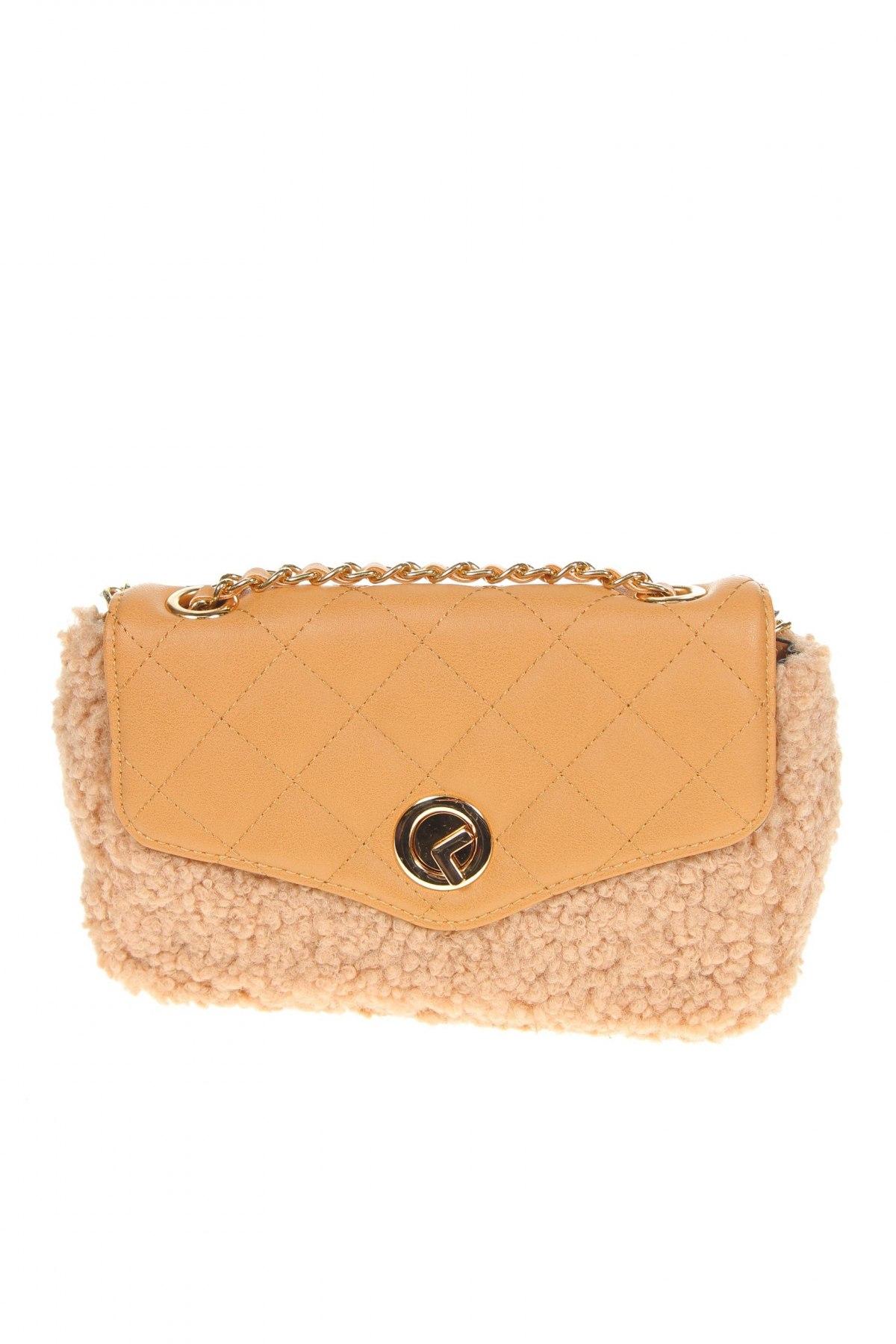 Дамска чанта Verde, Цвят Бежов, Текстил, еко кожа, Цена 25,37лв.