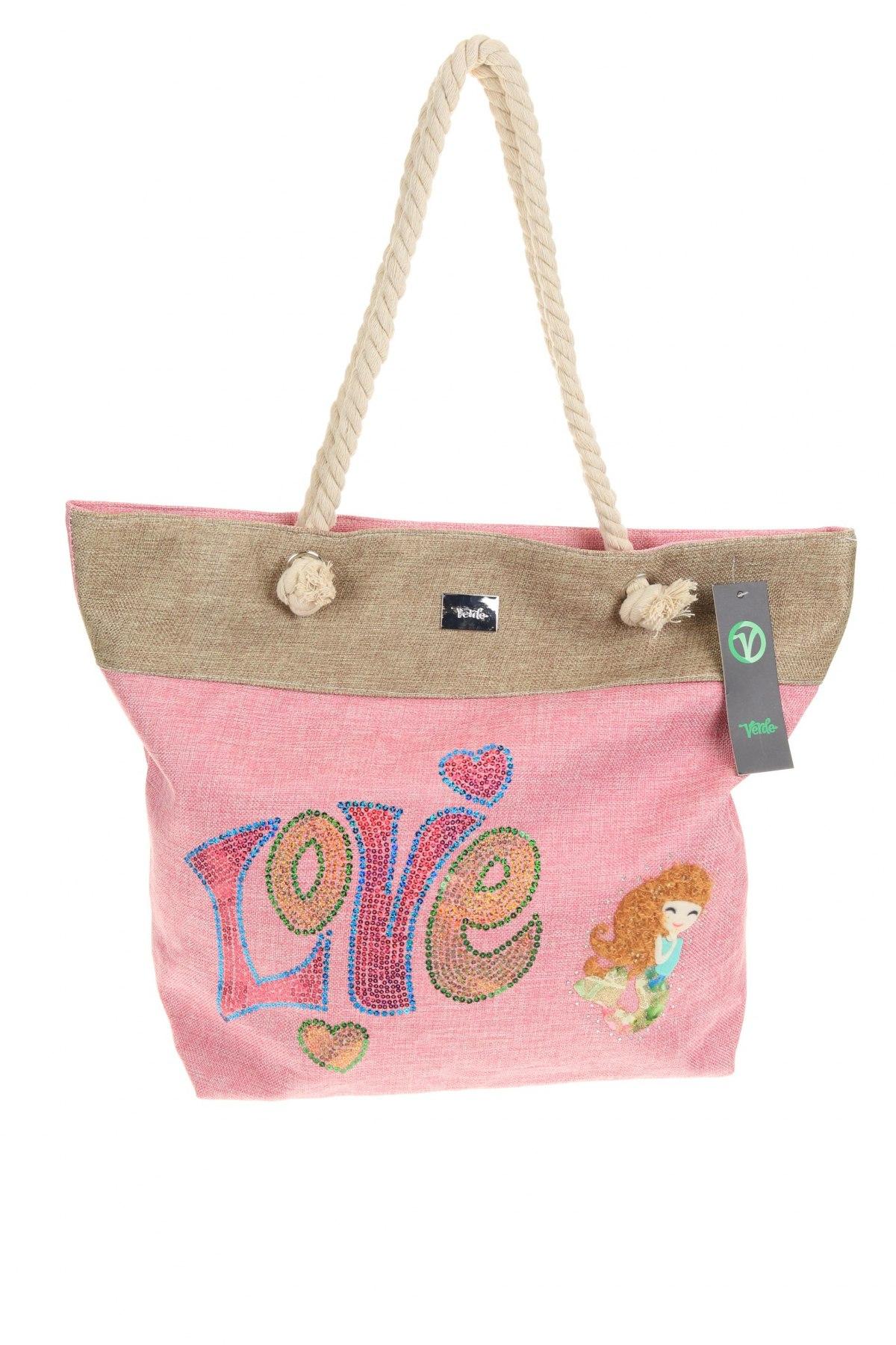 Чанта Verde, Цвят Розов, Текстил, Цена 20,70лв.