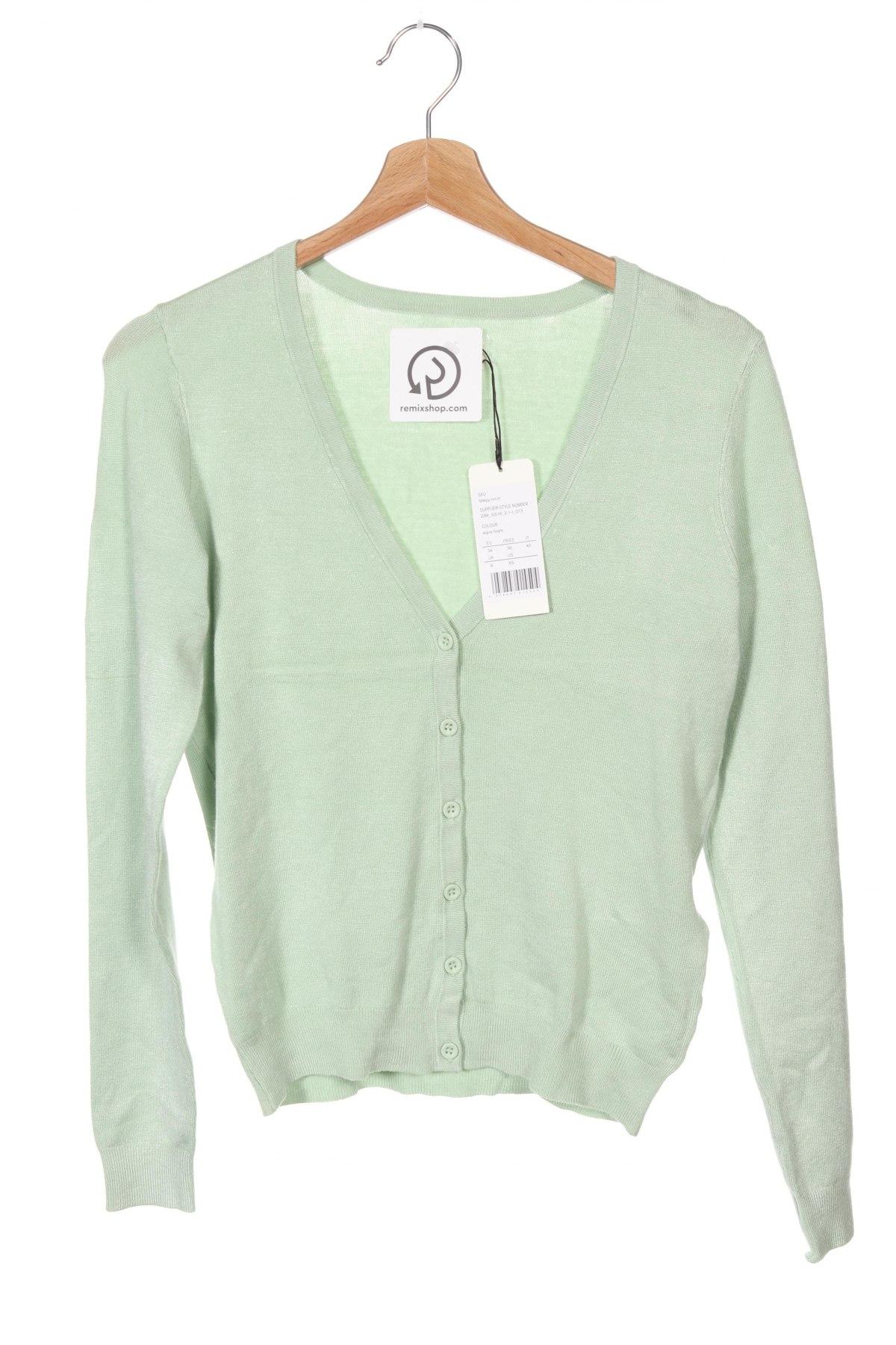 Дамска жилетка, Размер XS, Цвят Зелен, 84% вискоза, 16% полиамид, Цена 17,22лв.