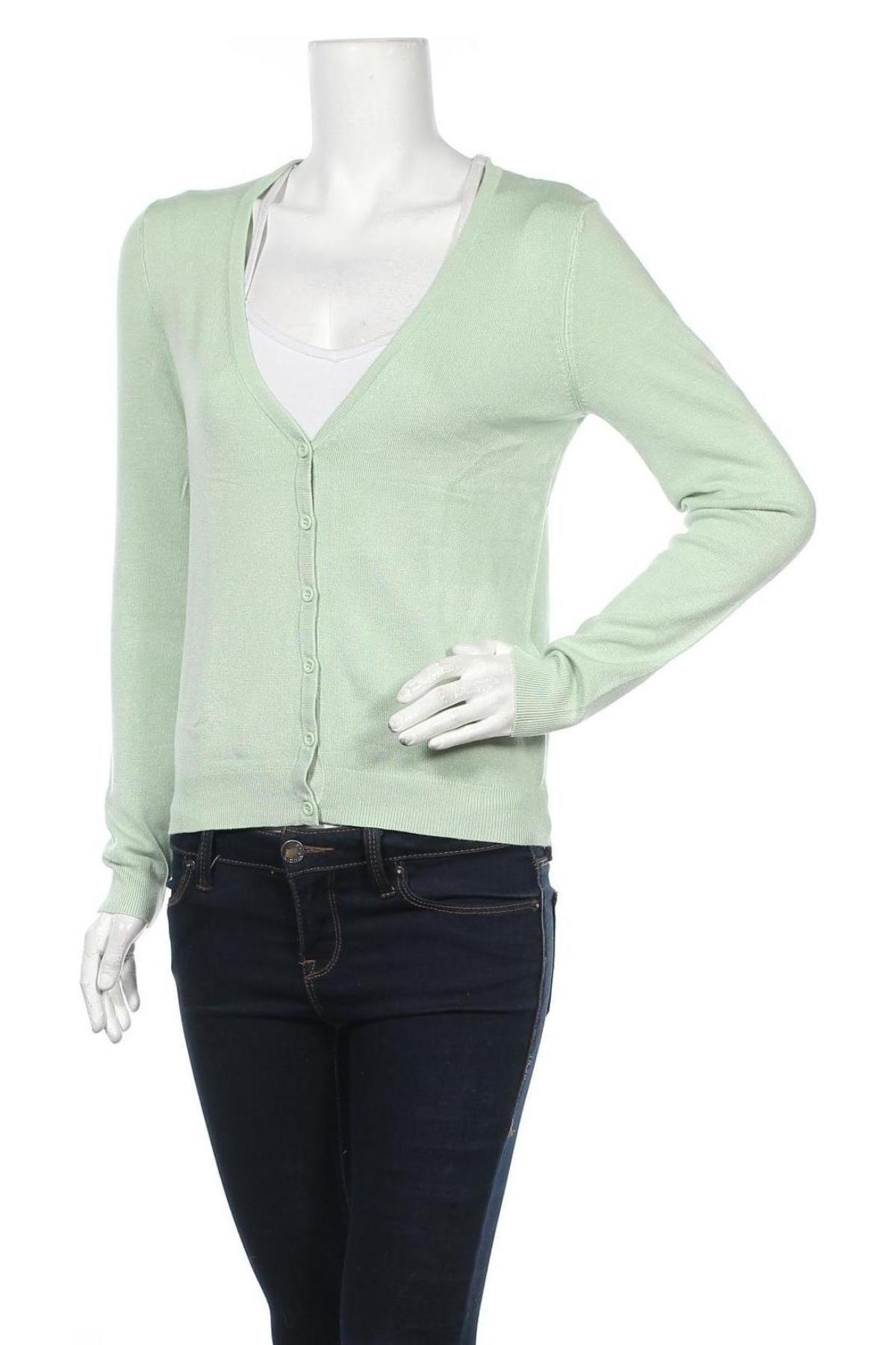Дамска жилетка, Размер S, Цвят Зелен, 84% вискоза, 16% полиамид, Цена 17,22лв.