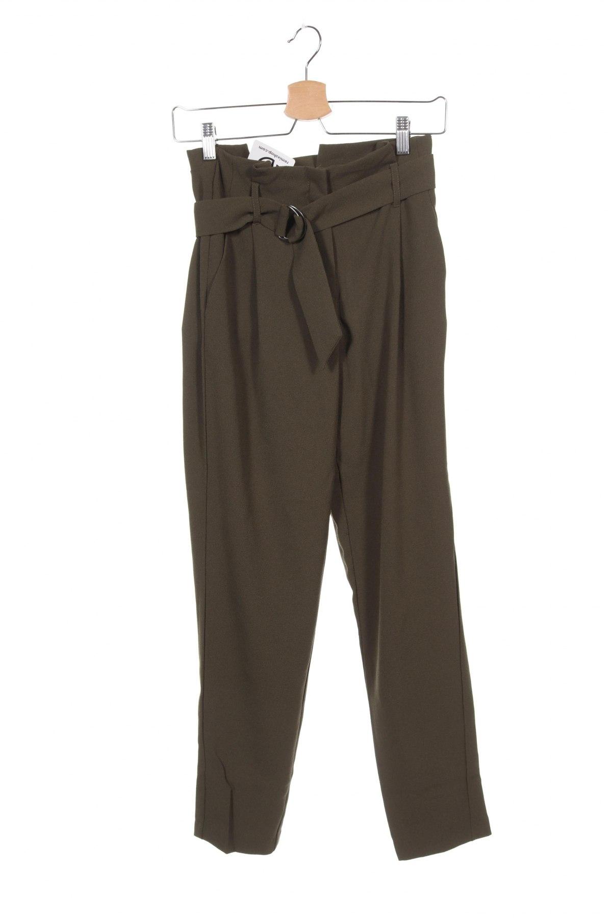 Дамски панталон ONLY, Размер XS, Цвят Зелен, 97% полиестер, 3% еластан, Цена 25,37лв.