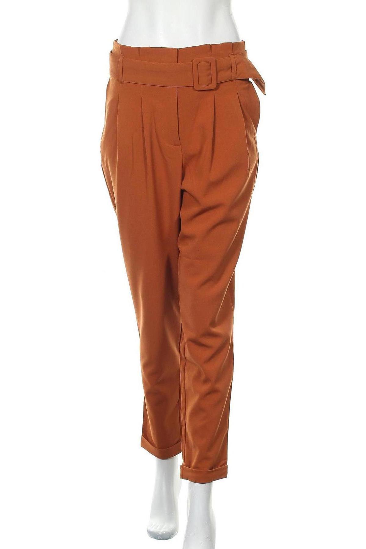Дамски панталон ONLY, Размер M, Цвят Кафяв, 63% полиестер, 33% вискоза, 4% еластан, Цена 33,63лв.