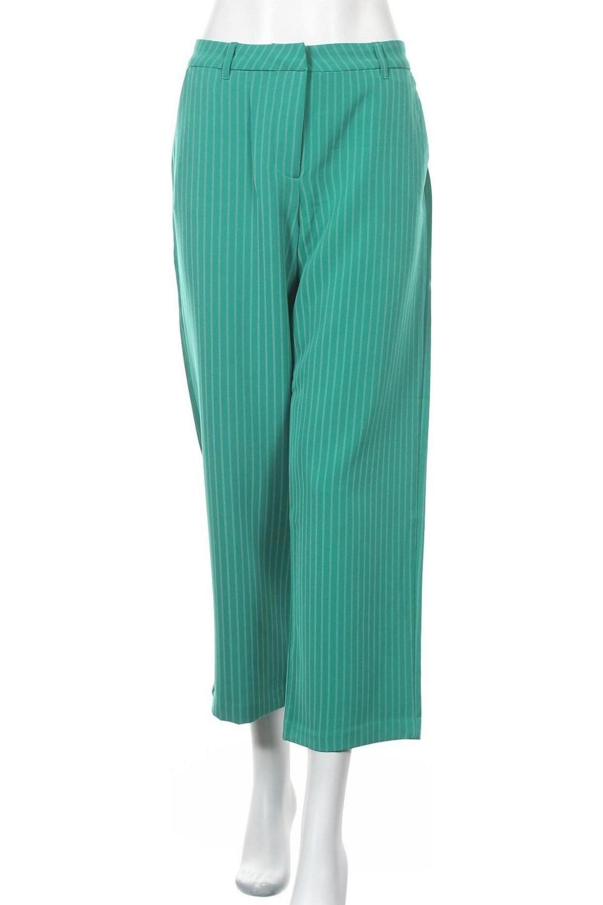 Дамски панталон ONLY, Размер M, Цвят Зелен, 88% полиестер, 11% еластан, 1% вискоза, Цена 18,22лв.