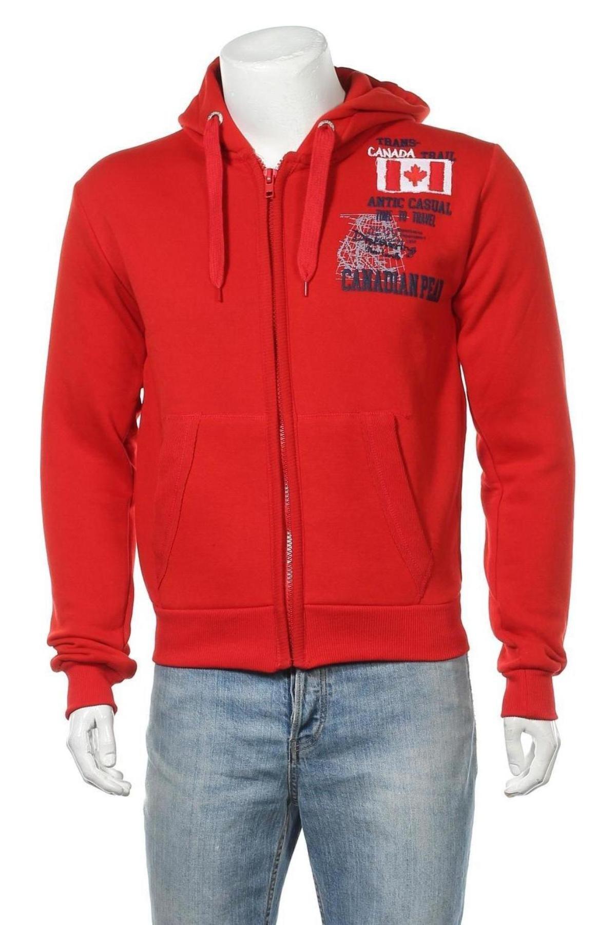 Мъжки суичър Canadian Peak, Размер M, Цвят Червен, 65% памук, 35% полиестер, Цена 66,75лв.