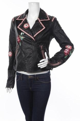 Γυναικείο δερμάτινο μπουφάν Guess, Μέγεθος L, Χρώμα Μαύρο, Δερματίνη, Τιμή 71,81€
