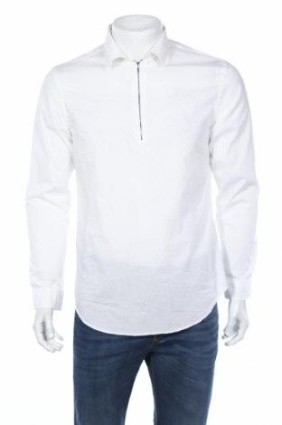 Bluză de bărbați Zara Man, Mărime L, Culoare Alb, Bumbac, poliamidă, elastan, Preț 40,42 Lei