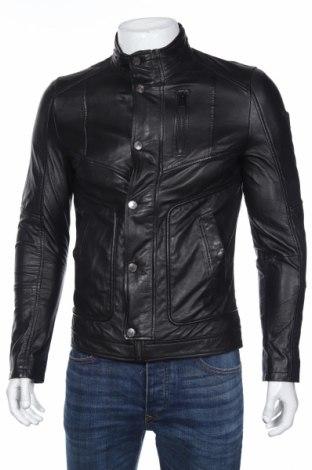 Мъжко кожено яке Guess, Размер S, Цвят Черен, Естествена кожа, Цена 459,00лв.