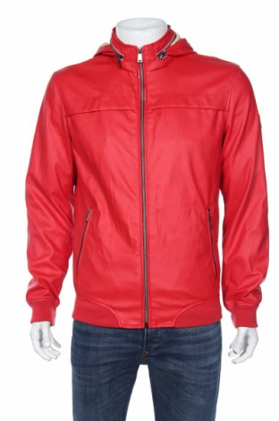 Мъжко кожено яке Guess, Размер M, Цвят Червен, Еко кожа, Цена 109,82лв.