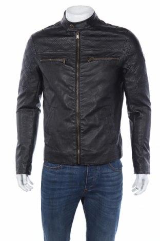 Мъжко кожено яке Guess, Размер M, Цвят Черен, Еко кожа, Цена 138,72лв.