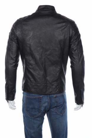 Мъжко кожено яке Guess, Размер M, Цвят Черен, Еко кожа, Цена 216,75лв.