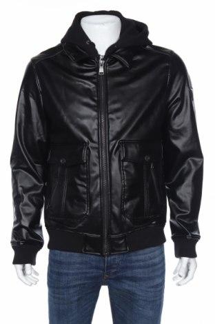 Мъжко кожено яке Guess, Размер XL, Цвят Черен, Еко кожа, Цена 83,22лв.