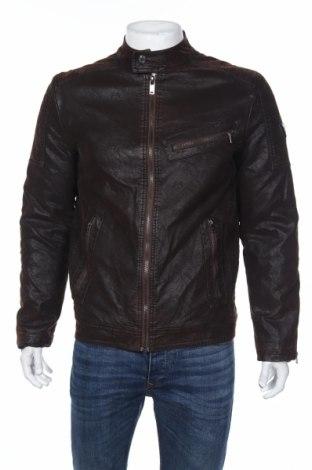Мъжко кожено яке Guess, Размер L, Цвят Кафяв, Еко кожа, Цена 229,00лв.