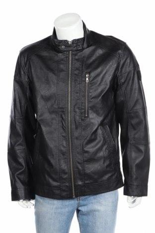 Мъжко кожено яке Tom Tailor, Размер XL, Цвят Черен, Еко кожа, Цена 39,52лв.