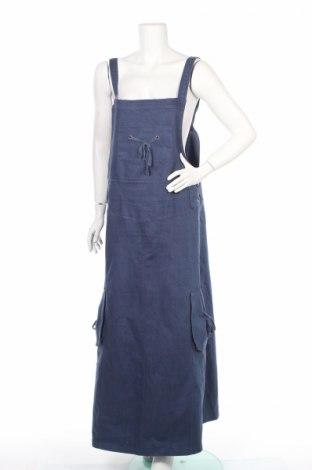 Dámske šaty s trákmi  Butterfly Girl, Veľkosť XL, Farba Modrá, 65% ľan, 35% bavlna, Cena  18,14€