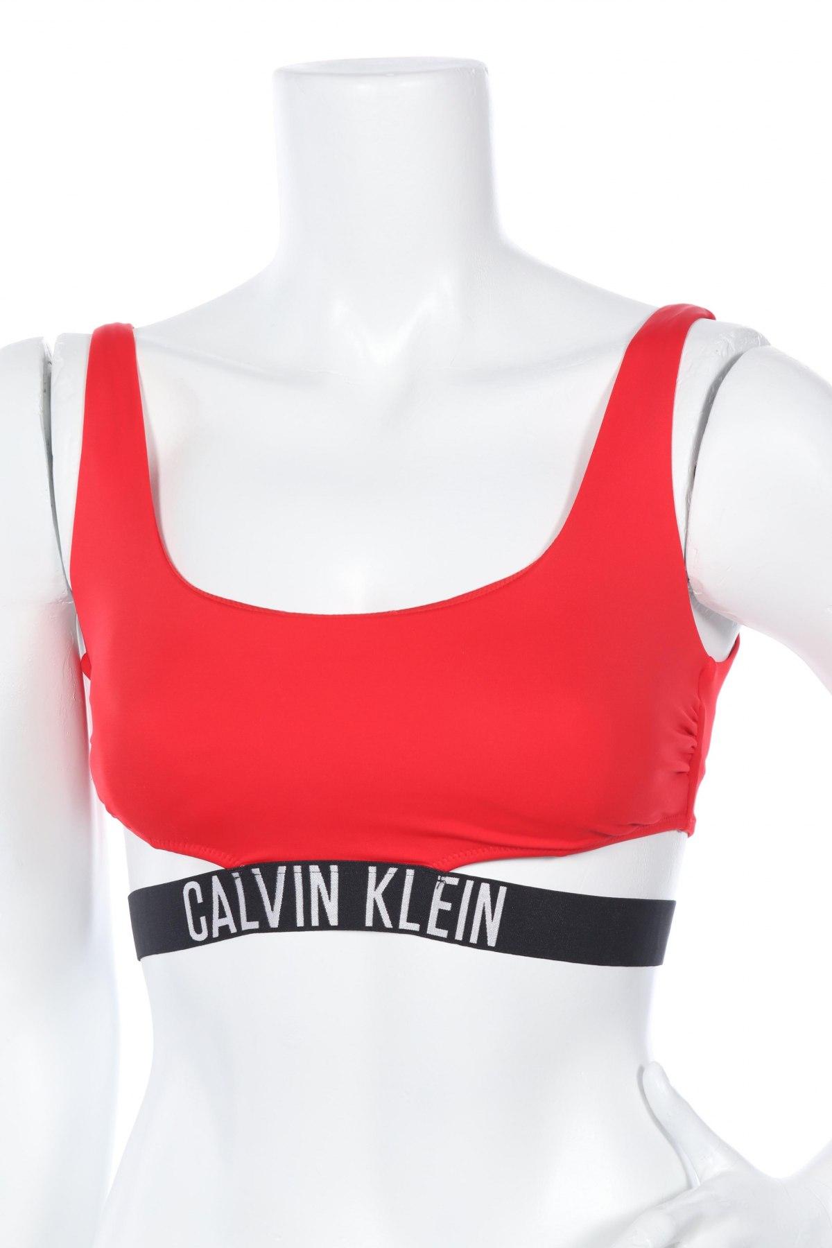 Дамски бански Calvin Klein, Размер M, Цвят Червен, 80% полиамид, 20% еластан, Цена 37,82лв.