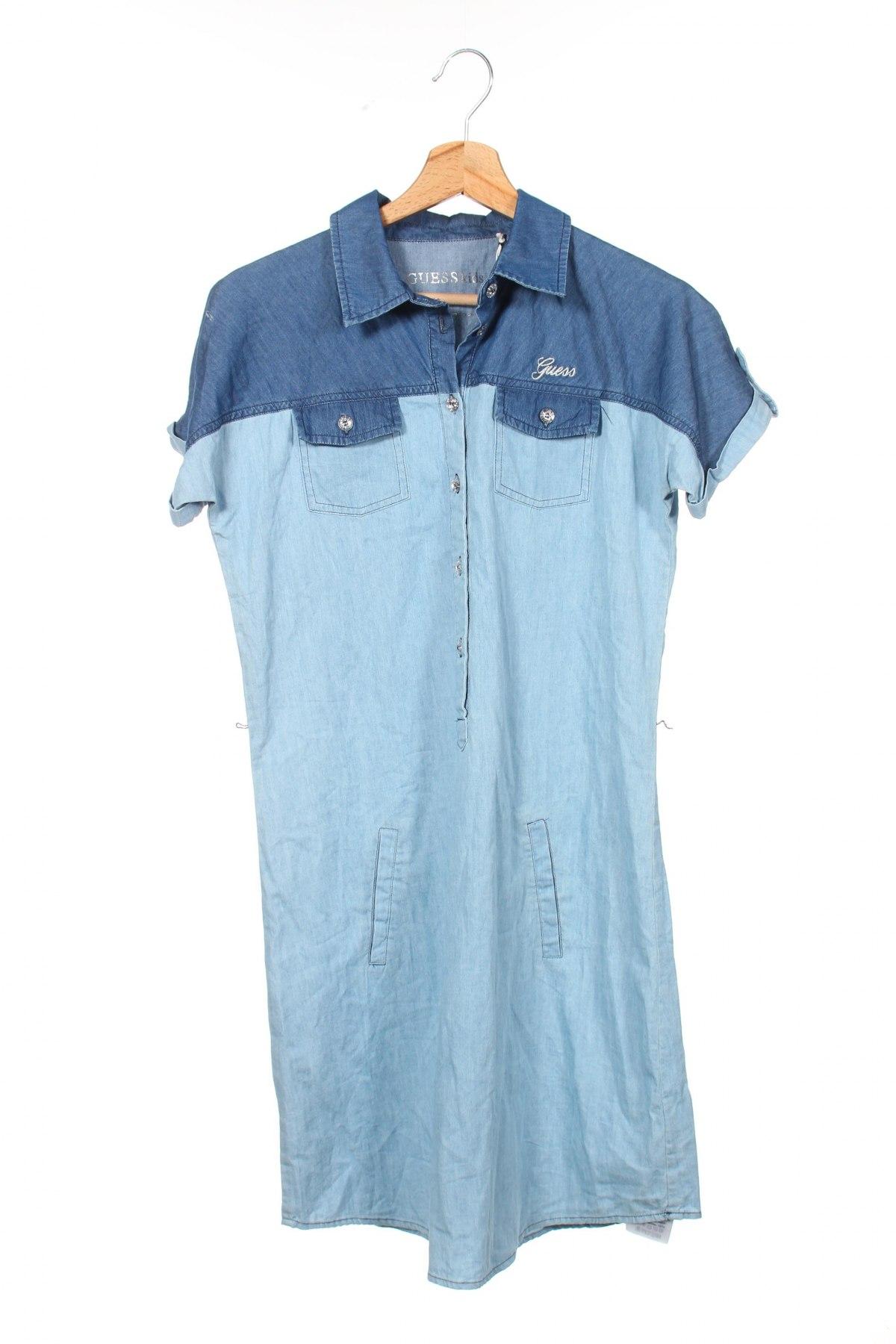 Детска рокля Guess, Размер 15-18y/ 170-176 см, Цвят Син, Памук, Цена 56,94лв.
