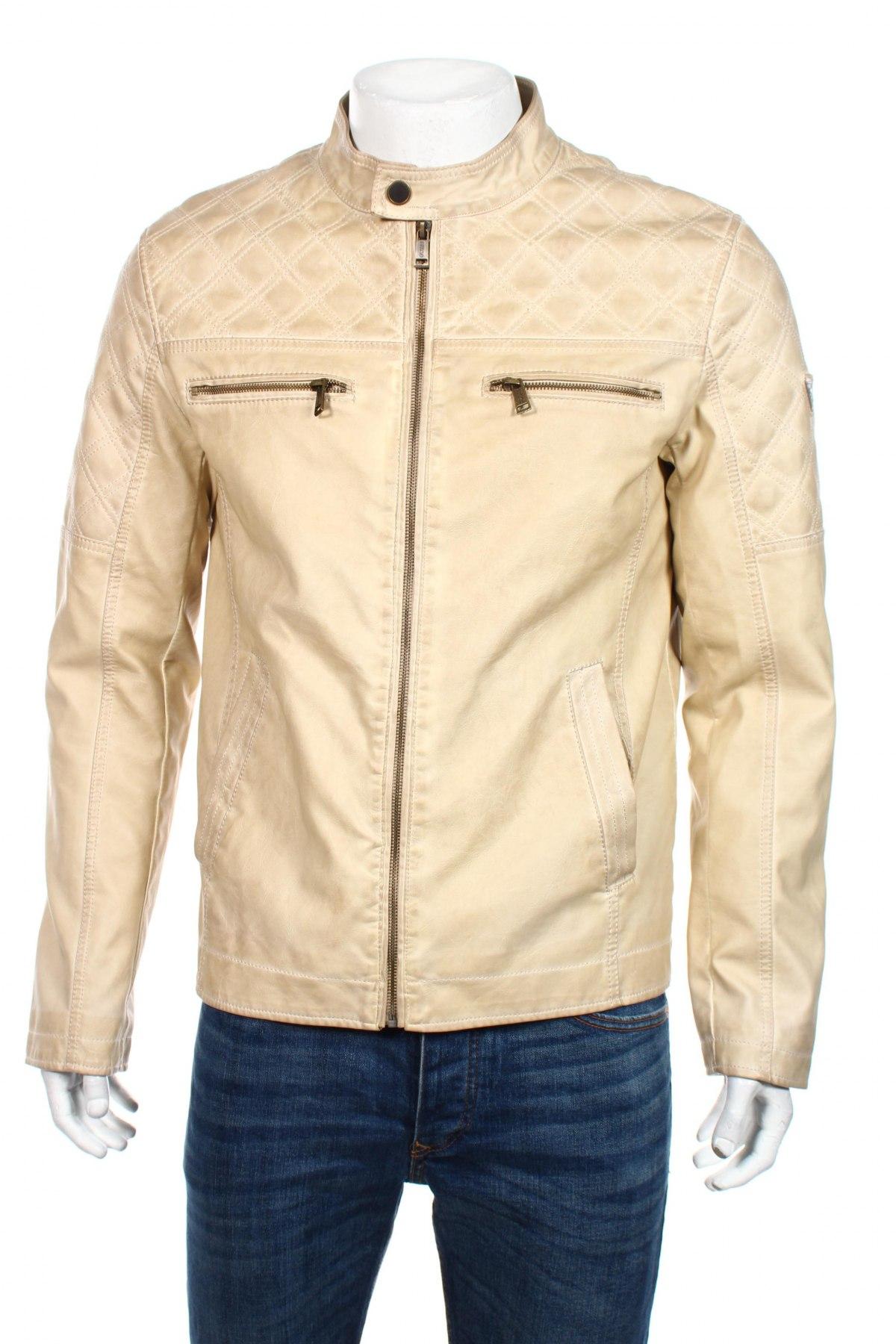 Мъжко кожено яке Guess, Размер L, Цвят Бежов, Еко кожа, Цена 98,42лв.