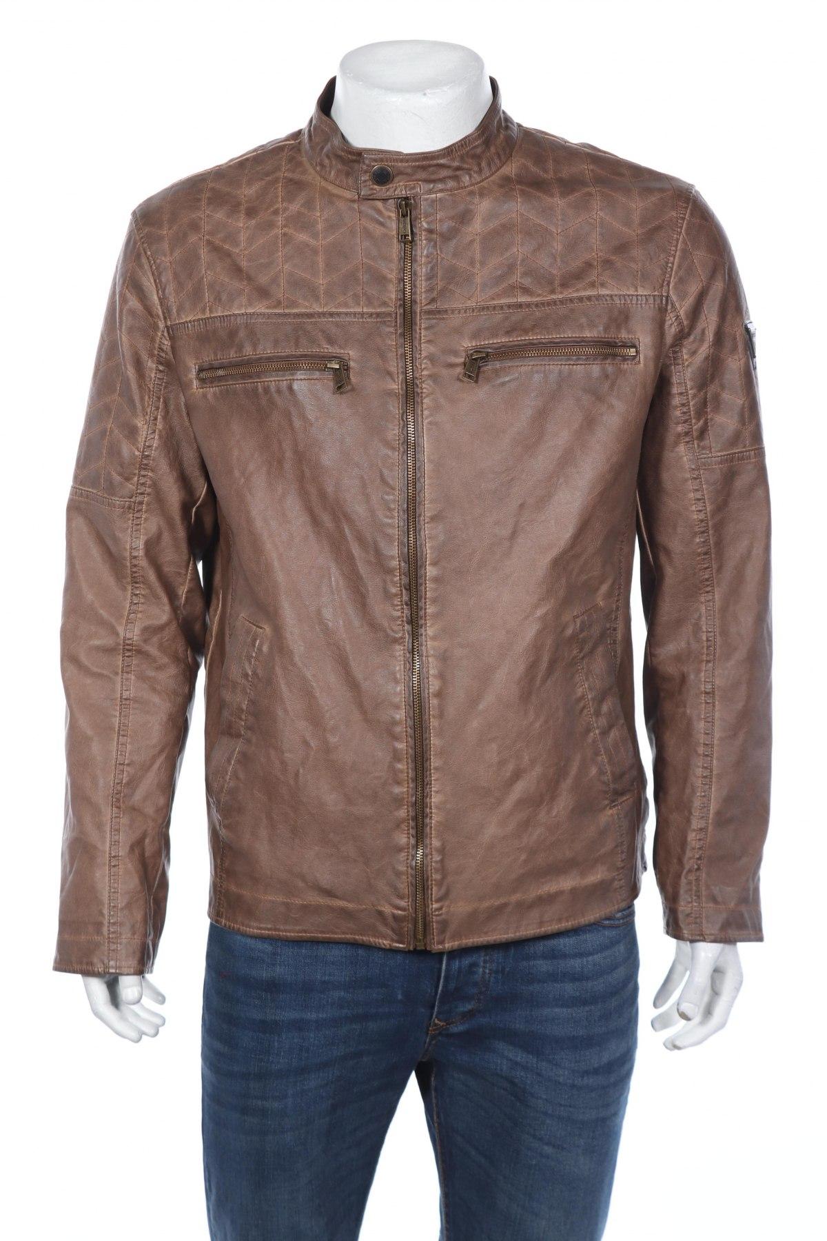 Мъжко кожено яке Guess, Размер XL, Цвят Кафяв, Еко кожа, Цена 119,97лв.