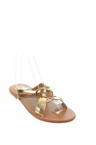 Чехли W.S Shoes, Размер 38, Цвят Златист, Естествена кожа, Цена 57,67лв.