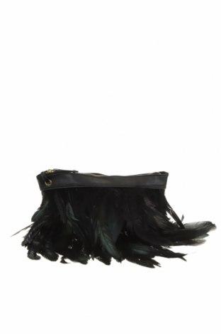 Дамска чанта Atmosphere, Цвят Черен, Еко кожа, текстил, естествени пера, Цена 15,60лв.